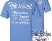 Personalized Short Sleeve TShirt with Small Elegant Front Monogram - Bridesmaid, Maid of Honor, True Friend