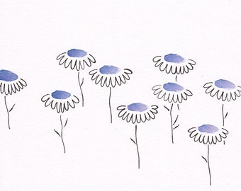 Original drawing of flowers. Floral illustration. Blue home decor wall art.