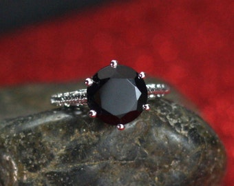 Black Spinel Engagement Ring Antique Style Prong Set Filigree Maia Round cut 3ct 9mm Custom Size White-Yellow-Rose Gold-10k-14k-18k-Platinum