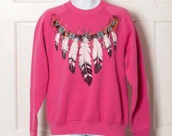 Vintage 80s 90s Pink Sweatshirt - Native American necklace design - XL