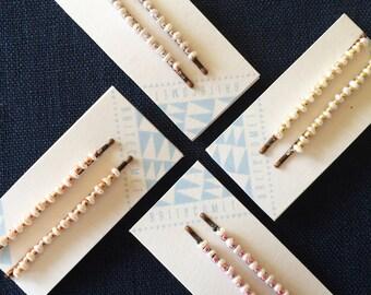 Tiny Pearl and Metallic Beaded Hair Pins