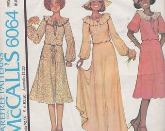 1978 Graceful Ruffle Collar Peasant Dress Annie,Too! McCalls 6064, Below Knee or Maxi Dress, Boho, Tea Party, Prom, Wedding, Bride