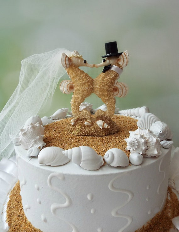 Sea Horse Wedding Cake Topper Bride Groom Seahorse