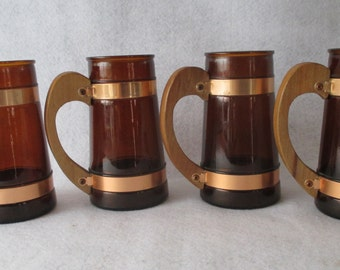 Siestaware Mugs, Vintage Amber Brown Glasses, Root Beer Mugs, Set of 5 Glasses, Retro Dining Kitchen Display, Ice Cream Floats