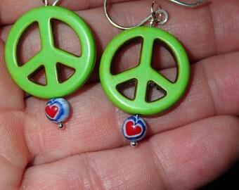 Peace Stone Earrings in Sterling Silver hooks