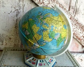 Metal Globe vintage globe 9 inch 1960s J. Chein octagonal Base with World & UN Flags 1964