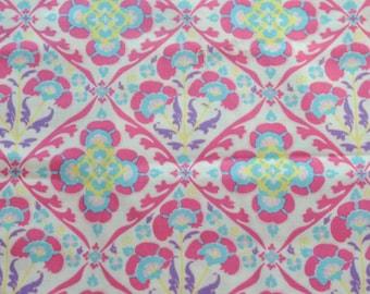 Pink Purple Blue Floral Damask Half Yard 100% Cotton Fabric