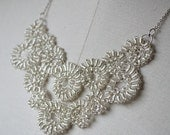 Grand Spirals Necklace - Silver Wire Crochet Bib Statement Necklace