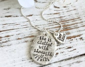 She Is Clothed With Strength & Dignity Necklace . Pewter . Scripture Jewelry . Proverbs . Verse Necklace . Personalized Jewelry