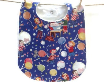 Retro Baby Bib, Toddler Bib, Michael Miller, Bubbles 'n Balloons, Blue, Boy Bib, Unisex, Girl Bib, Minky, Snap