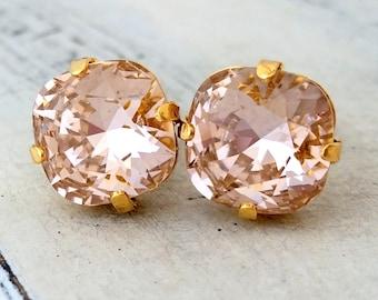 Blush earrings,Morganite stud earrings,blush pink bridesmaid earrings, blush pink bridal earrings,rose gold swarovski crystal earrings