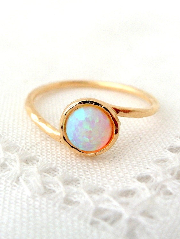 opal ring white opal ring gemstone ring gold ring silver