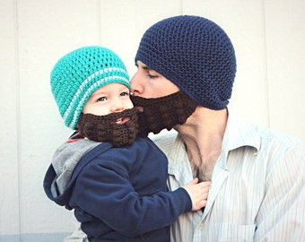 Crochet Beard and Beanie set for Adult & Child