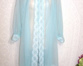 Size Medium -  Vintage Peignoir - by Miss Elaine  - Dressing Gown - Aqua - Sheer - Nylon - Chiffon - Lace - Long Sleeves- Knee Length