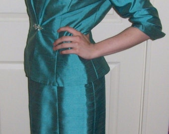 Vintage Ladies Blue Sheath Dress w/ Matching Jacket by Alex Evenings Size 6 Only 15 USD