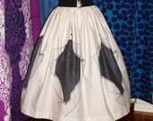 "Vintage 1950s 50s Full Gathered Skirt Border Print Novelty Handkerchief, WAIST 26"""