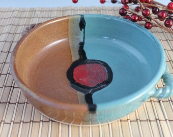 Pottery Brie baker - blue and brown with a red accent - Clearance Sale