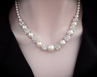 Graduating pearl necklace ~ Classic ~ Brides pearl necklace ~ Swarovski pearls and crystals ~ Wedding necklace ~ Bridesmaids jewelry~ LOLITA