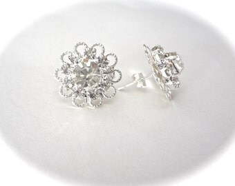 Crystal earrings ~ Brides earrings ~ Wedding earrings ~ Sterling silver studs ~ Bridesmaids ~ Mother of the bride jewelry ~ ANNE