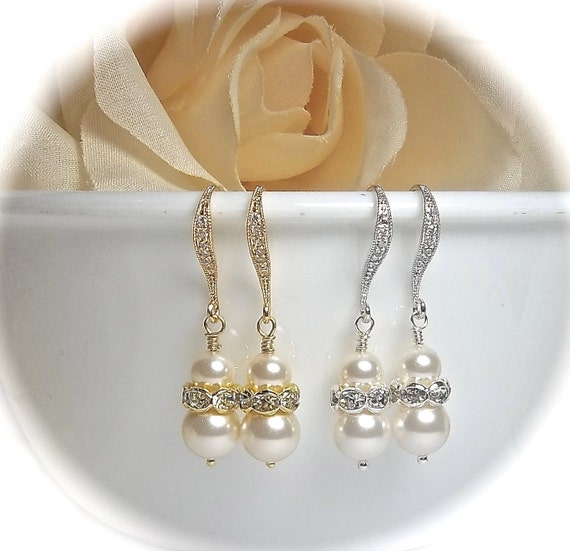 Pearl Earrings - Crystal Rhinestones - Swarovski pearls and crystals - Sterling silver ear wires - Bridal jewelry - Bridesmaids - Gifts
