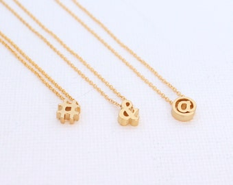 3D Punctuation Hashtag # Ampersand & At Sign @ Charm 18k Gold Necklace Mothers Day Gift
