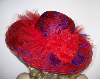 Ladies Red Hat - Red and Purple Hat - Wide brim red hat - Derby Hat - Kentucky Derby Hat - Garden Party - Tea Party