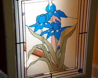 Framed/GLASS/PAINTED/STAINED/Wood Panel/Blue Iris/Hand Painted/Vintage