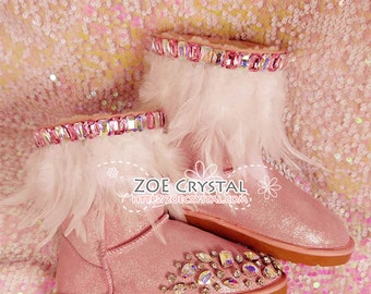 PROMOTION WINTER Pink Metallic Wool Boots with shinning and stylish Rhinestones and White Feathers