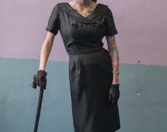 Unique Vintage Black Dress with Button Top
