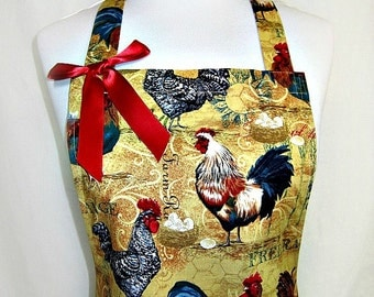 Apron ROOSTERS, Farmhouse COUNTRY CHIC, Ruffled Flounce, Pretty Party Hostess, Fun Kitchen Gift