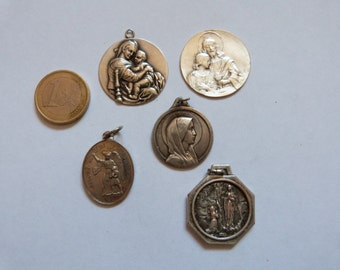 5 XL antique French religious medals Holy virgin Mary, Madonna and child, sacred heart Jesus Christ, souvenir our lady of Lourdes medal