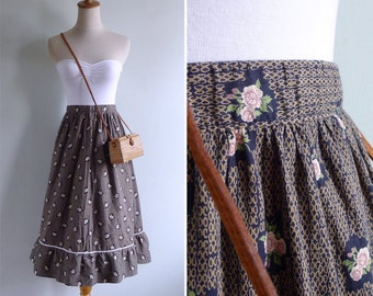 Vintage 60's Prairie Chic Pink Roses Ruffled Tier Skirt XXS or XS