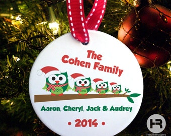 Owl Family of 4 Ornament, Personalized Family Christmas Ornament