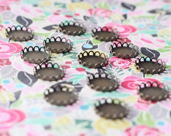 Round Brass Cabochon Lace Edge Flat Round Antiqued Bronze 18mm Cameo Cab // 12 pieces