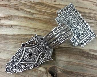 02.116.BZ/GA  Scandinavian Square-headed bow brooch - bronze, garnets