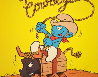 We All Grow Up to Be Cowboys - Vintage Smurf Poster from 1980s