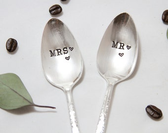 Mr. and Mrs. Spoon Set - Hand Stamped with wedding date - personalized with the bride and groom wedding date