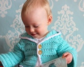 Baby Sweater Cardigan, Crochet Jacket with Hood, in Robins Egg Blue 12 - 18 Months