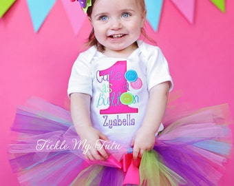 Cute as a Button Birthday Tutu Outfit-Cute as Button Outfit-Cute as a Button Birthday Set-Button Birthday Outfit *Bow NOT Included*