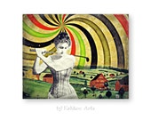 "Abstract Art Print, Colorful Wall Art, Mixed Media Collage Art, Pop Surrealism, Golf 8 x 10 ""Victorian Hippie Golf Farm"""