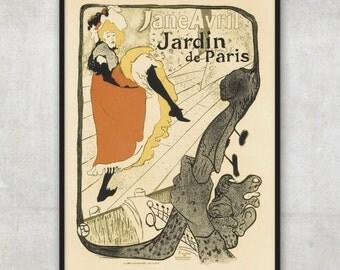 Toulouse Lautrec beautiful Era Vintage  - Jardin de Paris, LARGE vintage advertisement,P063