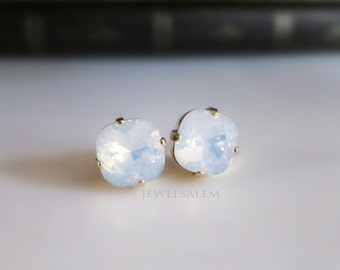Bridal Earrings Bridesmaid Earrings Modern Jewelry Opal Earrings Moonstone Glass Swarovski Crystal Studs Silver Gold Earring Birthstone
