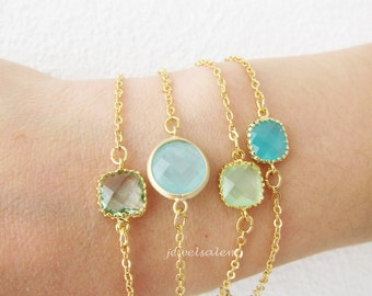 Stacking Bracelet Gold Opal Mint Turquoise Aqua Teal Small Stone Modern Jewelry Simple Dainty Personalised Friendship Gift Sister OOAK C1