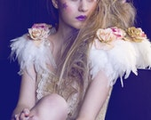 Rose and feather shoulder pieces ,ivory feather wings, pastel flower wings, black swan, rose shoulder pieces