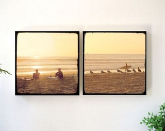 Surfer Wall Art Set, Retro Surf Art, Surfer Art, Surfing Photography, Surfboards, Vintage Surfing Canvas Art, Surfer Decor, Woodblock