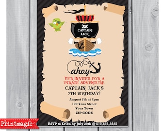 Pirate Parrot Pirate Ship Birthday Party Invitation - Pirate Invitation - Pirate Party - Download & Personalize at home in Adobe Reader