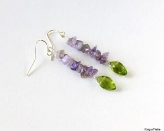 Purple Bead Earrings, Amethyst Earrings, Gemstone Chip Earrings, Green Bead Earrings, February Jewelry, Gemstone Jewelry, Violet Earrings