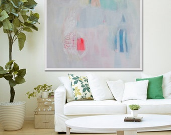 "White abstract PRINT of original painting with blue, green and red.GICLÉE PRINT ""French Fancy"""