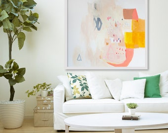 "Large GIclée print, ABSTRACT print of original painting, yellow, white, pink, ""Saxon and Diamond"""