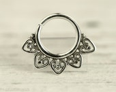 Septum Ring Piercing Nose Ring Body Jewelry Sterling Silver Bohemian Fashion Indian Style 16g 14g - SE013R SS G1